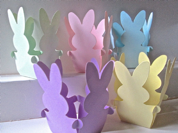 5 x Basket Bunny Rabbit Favour/ Gift Box Assorted Pastel Coloured Card
